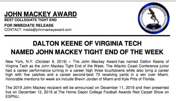 John Mackey Award Official Home Of The John Mackey Award